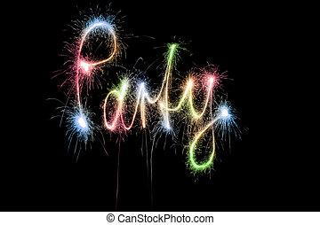 color, fiesta, palabra, sparkler