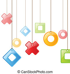 Color figures on rope. Background