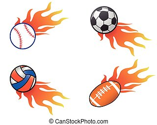 color fire ball icons set