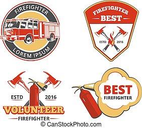Color firefighter emblems, labels and badges vector set....