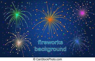 color fireworks background on deep blue sky