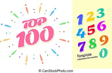 Color fireworks template with numbers - tor 100 rating. Colorful bright numbers from 1 to 9 for easy replacement in the layout.