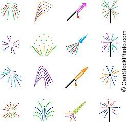 Color fireworks vector set