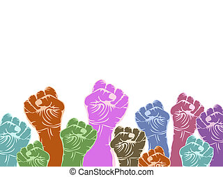 color fists with copy space above on white background