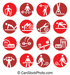 color fitness and sport icons - Elegant Colorful Fitness And...