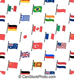 color flags of different country seamless pattern eps10