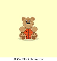 flat art cartoon illustration of a cartoon bear basketball