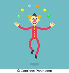 flat art cartoon illustration of a dancing clown - Color...