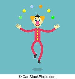flat art cartoon illustration of a dancing clown
