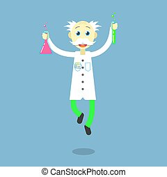 flat art cartoon illustration of a dancing professor - Color...