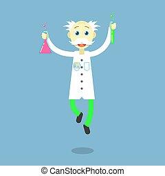 flat art cartoon illustration of a dancing professor