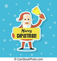 flat art sticker illustration of a cartoon Santa Claus with a banner greeting Merry Christmas