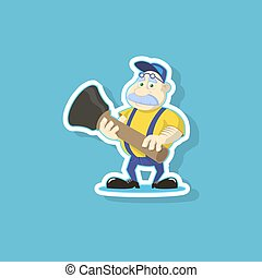 flat art vector illustration of a cute cartoon plumber with plunger