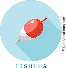 Color flat fishing icon. Float on a blue background - simple style. Vector illustration.