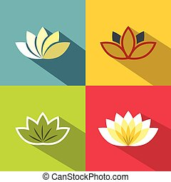 Color flat flowers with dark long shadow on background