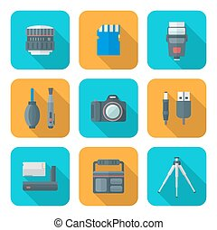color flat style square digital photography tools icons