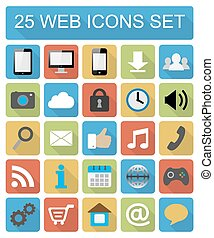Color flat web icons set
