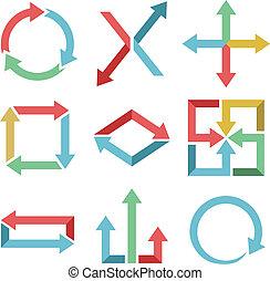 color, flechas, plano, diseño, conjunto, aislado, blanco, fondo.