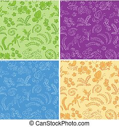 color floral seamless backgrounds with nature - vector set
