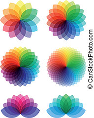 color, flores, resumen, vector, conjunto