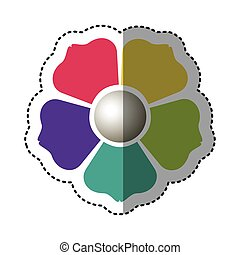 color flower with squre petals icon - color flower with ...