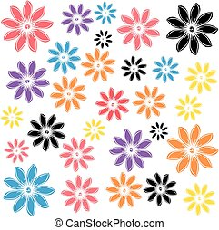 Color flowers isolated on white background. Vector illustration