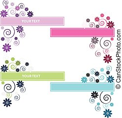 Color flowers with label on white background.