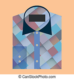 Color folded shirt with badge design concept