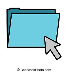 color folder file with arrow cursor mouse
