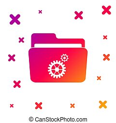 Color Folder settings with gears icon on white background. Concept of software update, transfer protocol, teamwork tool management, copy process. Gradient random dynamic shapes. Vector Illustration