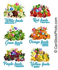 Color food icons of healthy diet nutrition