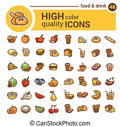 color food icons set