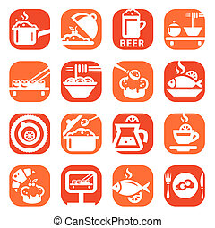 color food vector icon set