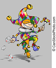 Cartoon illustration of a dancing jester in colorful diamond outfit. Enjoy!!!