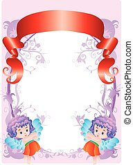 color frame with angels and red banner, vector illustration
