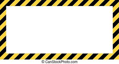 color, frontera, amarillo, rectangular, construcción, fondo negro, rayado, advertencia