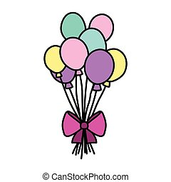 color funny balloons style with ribbon bow