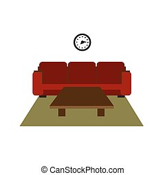 Color furniture living room flat icon