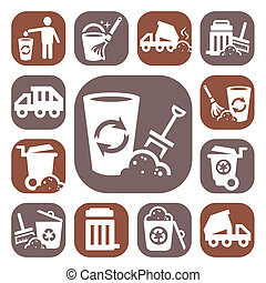 color garbage icons - Color Garbage And Cleaning Icons Set...
