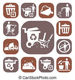 color garbage icons set - Color Garbage And Cleaning Icons...