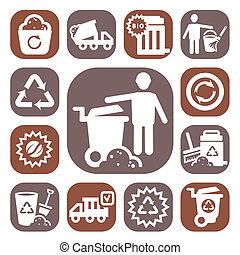 color garbage vector icons - Color Garbage And Cleaning...