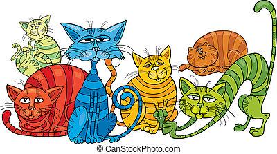 color, gatos, grupo