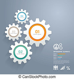 Color Gears Infographics Number Options Banner & Card. ...