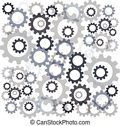 Color gears isolated on white background. Vector illustration
