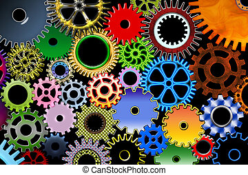 Lot of color mechanic gears and wheels 3d