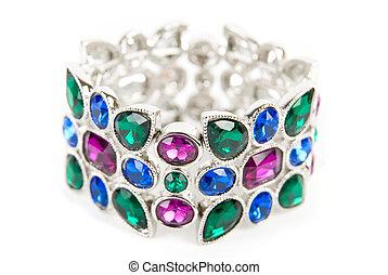 color, gemas, pulsera