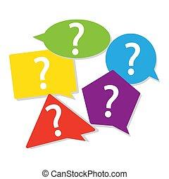 Color geometric question mark sign in speech bubble. Ask button set