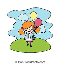 color girl child with funny balloons in the landscape