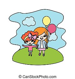 color girls children with funny balloons in the landscape