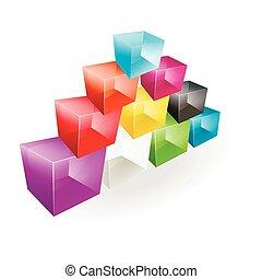 Color glass cubes made a pyramid